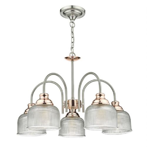 Wharfdale 5 Light Pendant Satin Chrome Copper + Textured Glass (Double Insulated) BXWHA0546-17